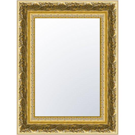 Espelho Dourado Envelhecido com Moldura Gravada de Madeira