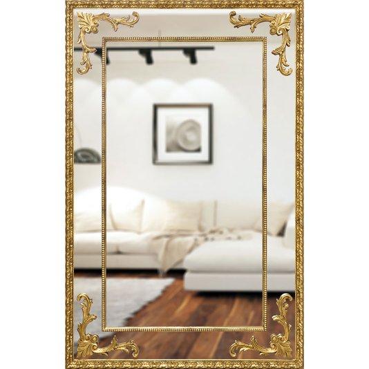 Espelho Grande Clássico com Moldura em Folha de Ouro 130x200cm