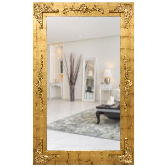 Espelho Grande Clássico com Moldura em Folha de Ouro 135x215cm