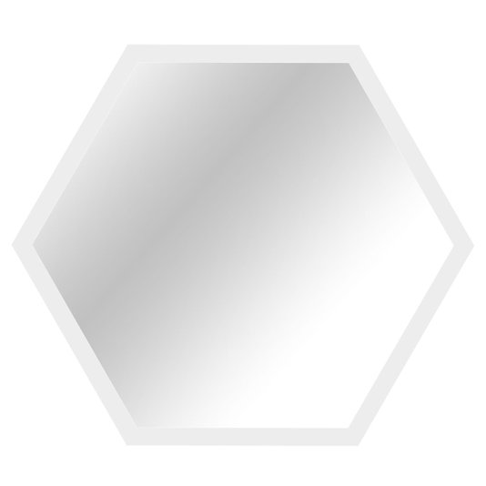 Espelho Hexagonal Decorativo Moldura Laqueada Branca