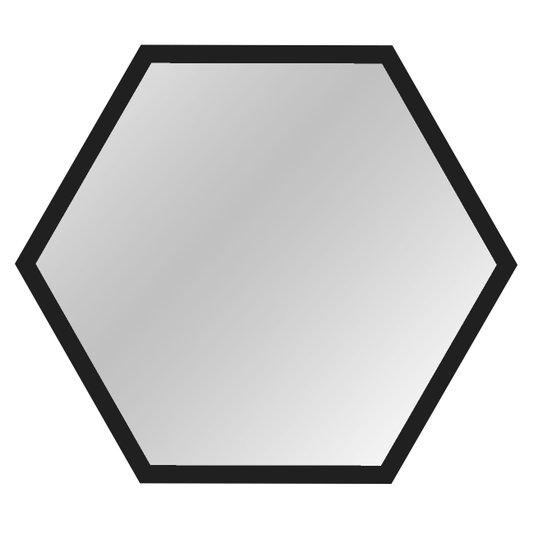 Espelho Hexagonal Decorativo Moldura Laqueada Preta