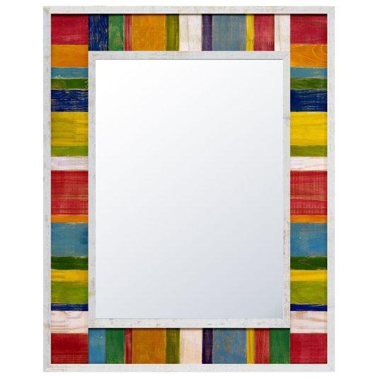 Espelho com Madeira de Demolição Rústico Colorido