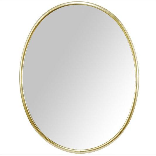 Espelho Oval com Moldura de Alumínio Lateral Escovada Ouro Brilho