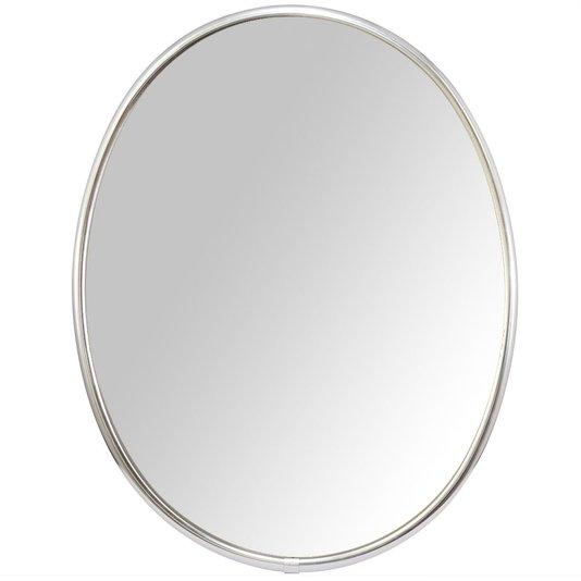 Espelho Oval Moldura de Alumínio Incolor Brilho Lateral Escovada
