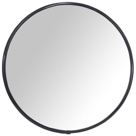 Espelho Redondo com Moldura Alumínio Preto Brilho