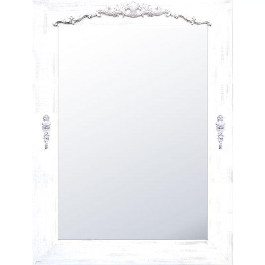 Espelho Rústico Branco Provençal com Apliques 90x120cm