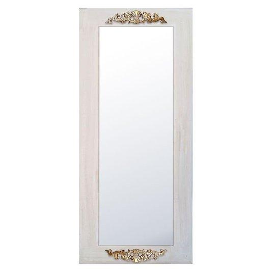 Espelho Rústico Branco Provençal com Apliques Dourados