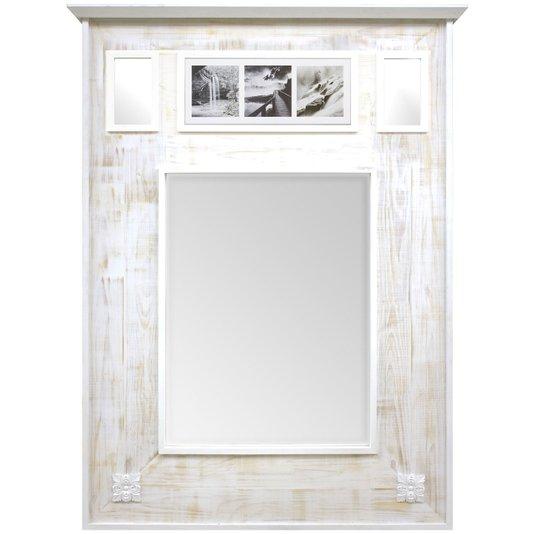 Espelho Rústico Branco Provençal Espelho com Quadro em Preto e Branco