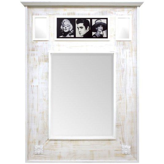Espelho Rústico Branco Provençal Espelho com Quadro Ídolos