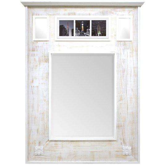 Espelho Rústico Branco Provençal Espelho com Quadro New York