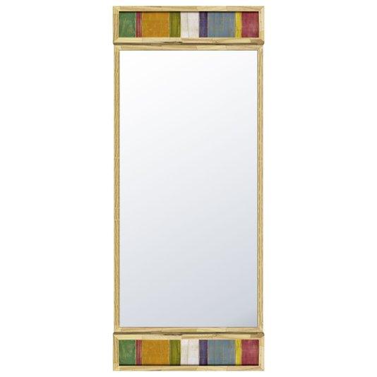 Espelho Rústico com Madeira de Demolição e Acabamento Colorido