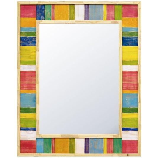 Espelho Rústico com Moldura Madeira de Demolição Colorido