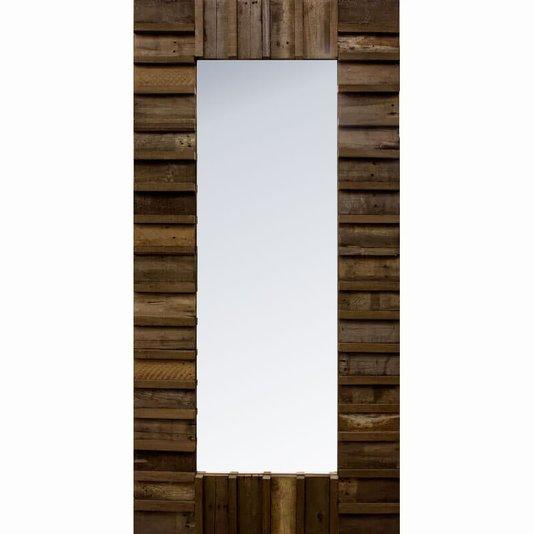 Espelho Rústico com Moldura Madeira Maciça Marrom