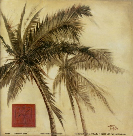Gravura para Quadros Sépia Tropical Palmeira 15x15cm