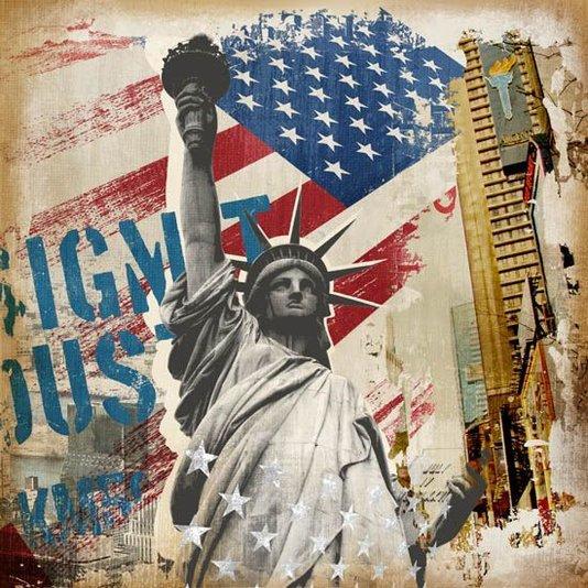 Quadro Tela Decorativa Estátua da Liberdade Nova Iorque 60x60cm