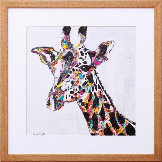 Quadro Decorativo Ilustração Girafa Colorida 40x40cm