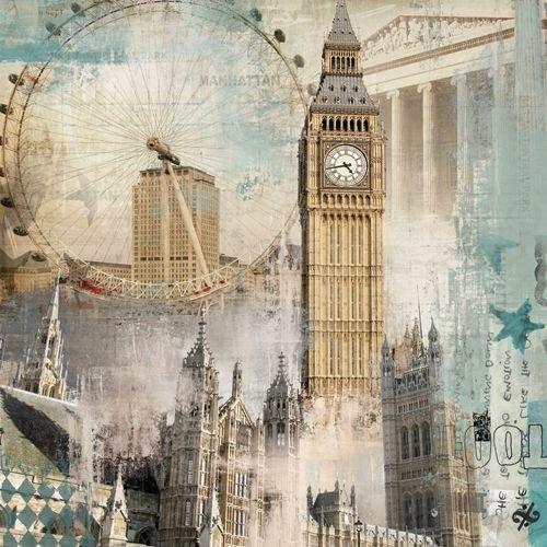 Quadro Tela Decorativa Londres Alguns Pontos Turísticos 60x60cm