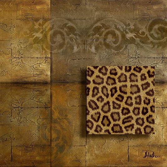 Gravura para Quadros Africana Fundo Abstrato com Detalhe Efeito Pele de Onça 30x30cm