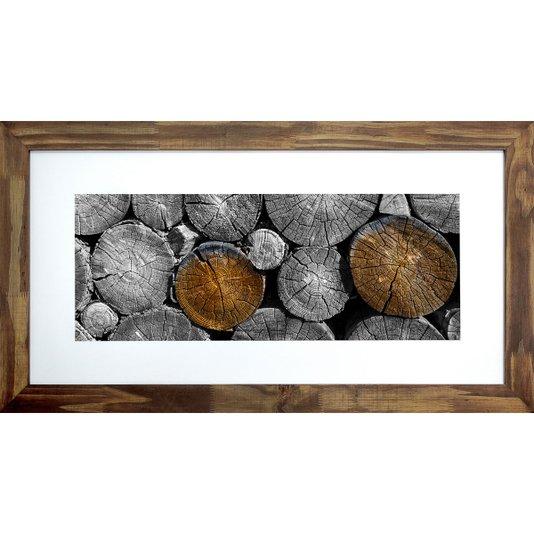 Quadro Decorativo Rústico Troncos de Madeira Cortados 110x60cm