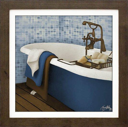 Quadro Decorativo Banheira Azul e Branca II - 35x35cm