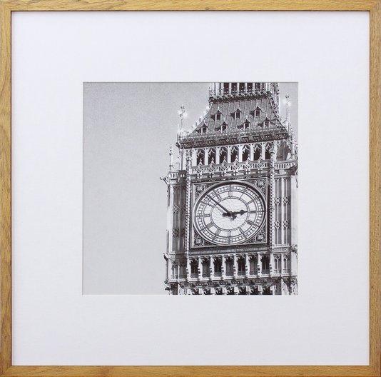 Quadro Decorativo com Moldura na Cor Carvalho Torre Big Ben Londres Inglaterra 50x50cm