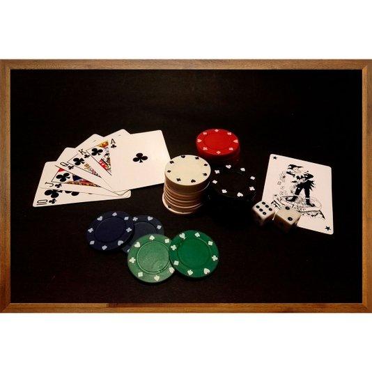 Quadro Decorativo com Moldura Rústica Baralho Jogo de Poker 90x60cm