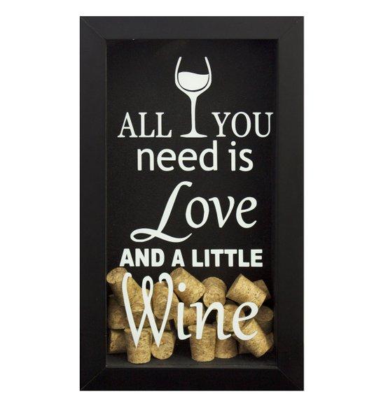 Quadro Decorativo Porta Rolhas Vinho All You Need is Love