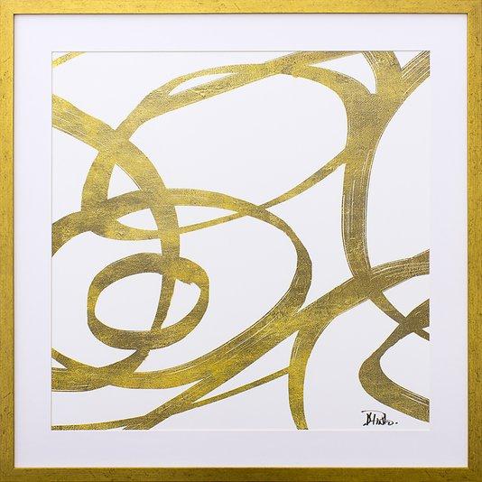 Quadro Decorativo Abstrato Linhas Douradas 75x75cm