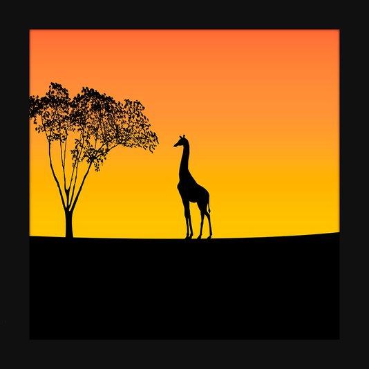 Quadro Decorativo Imagem Minimalista Ilustração Girafa 30x30cm