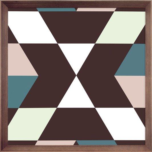 Quadro Decorativo Arte Geométrica com Moldura Marrom Chanfrada 75x75cm