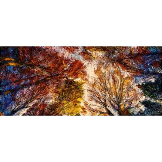 Gravura Abstrata para Quadros Árvores Coloridas 70x30cm