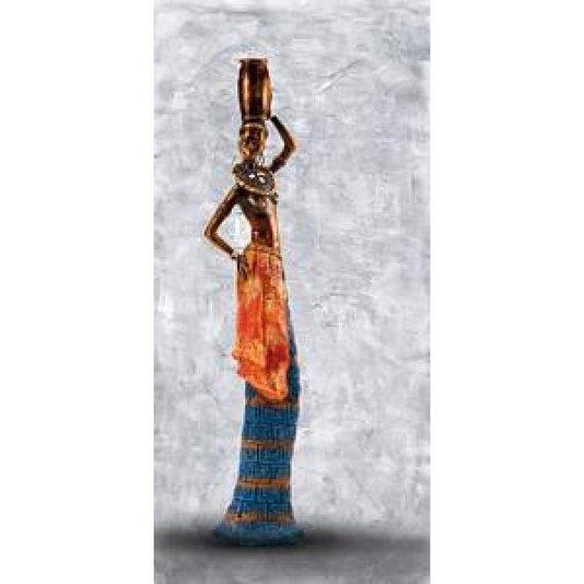 Gravura Africana para Quadros Mulher Carregando Vaso na Cabeça 23x49cm