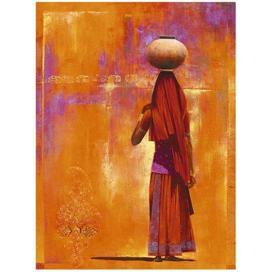 Gravura Africana para Quadros Mulher com Vaso na Cabeça 60x80cm
