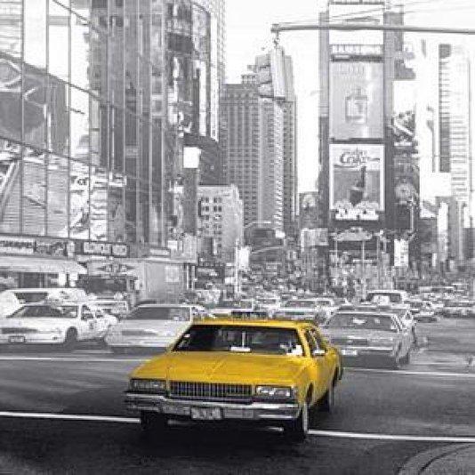 Gravura em Alto Brilho para Quadros Táxi Amarelo Antigo New York 16x16cm