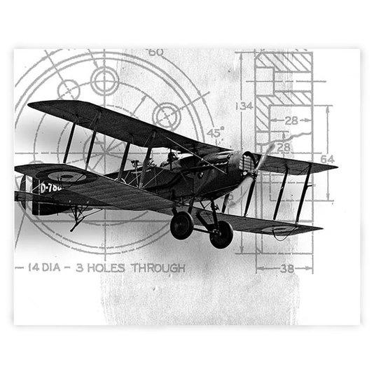 Gravura em Preto e Branco para Quadros Avião Antigo II 25x20cm