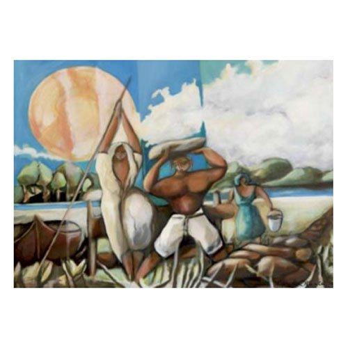 Gravura Figurativa para Quadros Pescadores 70x50cm