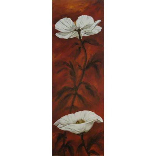 Gravura Floral para Quadros Flores Brancas em Fundo Vermelho 30x90cm