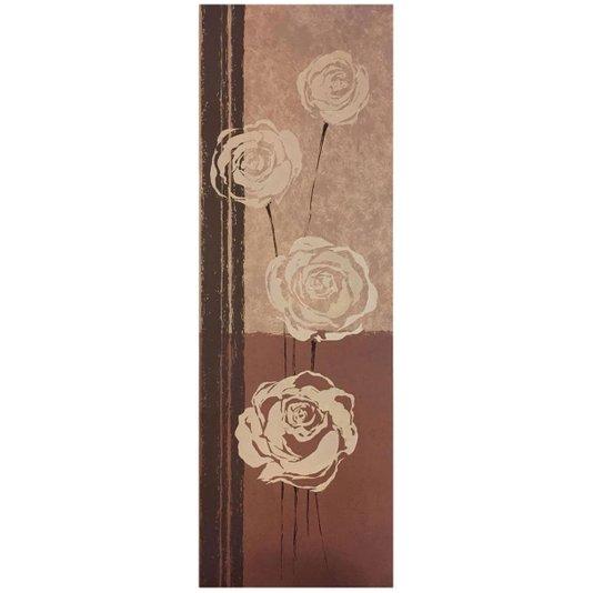 Gravura Floral para Quadros Flores Destacadas em Fundo Bege e Marrom 30x90cm