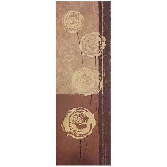 Gravura Floral para Quadros Fundo Bege e Marrom com Flores 30x90cm