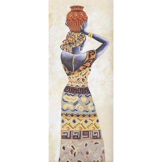 Gravura Mulher Africana Carregando Jarro na Cabeça 20x50cm