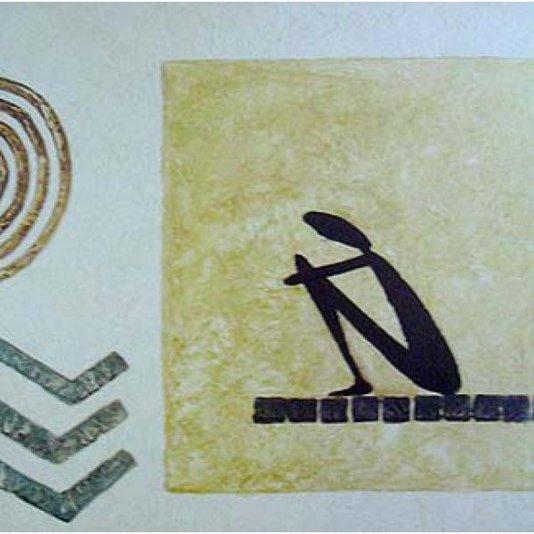 Gravura para Quadro Tema Africana Homem Sentado 35x35cm