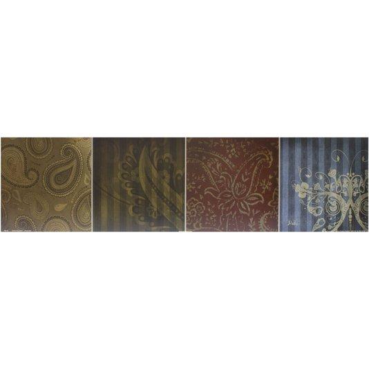 Gravura para Quadros Abstrato Composição Paisley 80x20cm