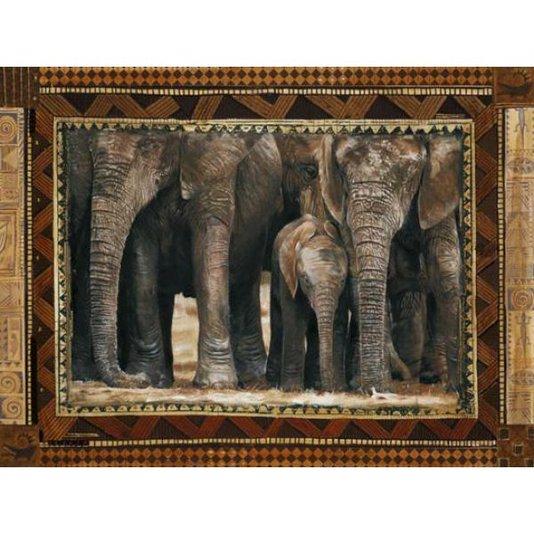 Gravura para Quadros Africana Manada de Elefantes 50x40cm
