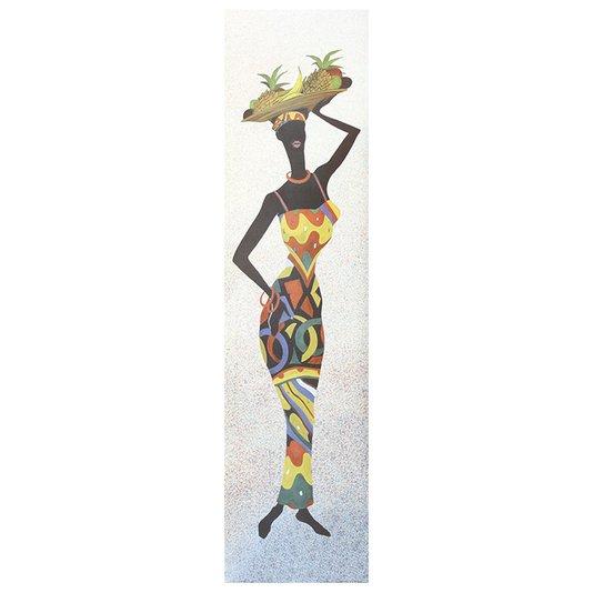 Gravura para Quadros Africana Mulher com Cesta Sobre a Cabeça 25x100cm