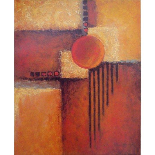 Gravura para Quadros Arte Abstrata Vermelha e Amarela 40x50cm