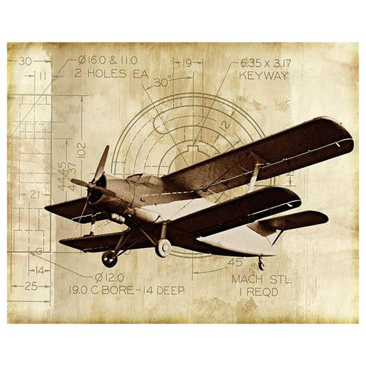 Gravura para Quadros Avião Antigo Monomotor 35x28cm