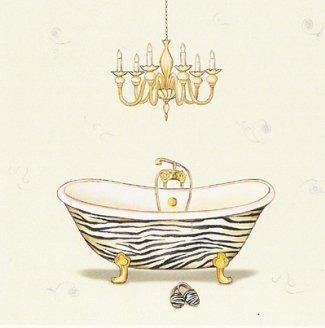 Gravura para Quadros Banheira Branca e Dourada 30x30cm