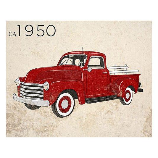 Gravura para Quadros Carro Antigo Ano 1950 Vermelho 35x28cm