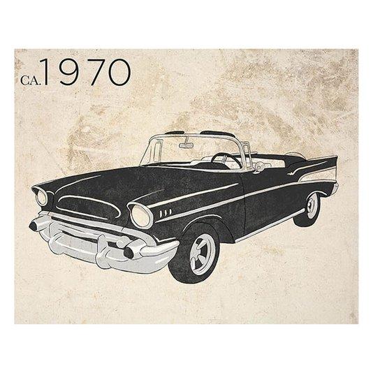 Gravura para Quadros Carro Antigo Preto Conversível Ano 1970 35x28cm