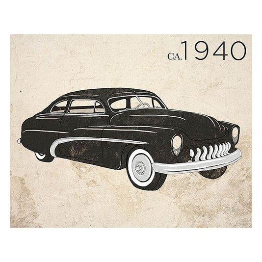 Gravura para Quadros Carro Antigo Preto de 1940 - 35x28cm